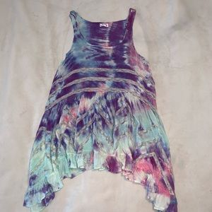 Voile and Lace Trapeze Slip Tie Dye Mini Dress